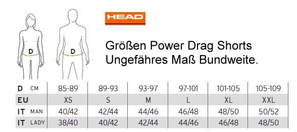 HEAD Größen Power Drag Shorts
